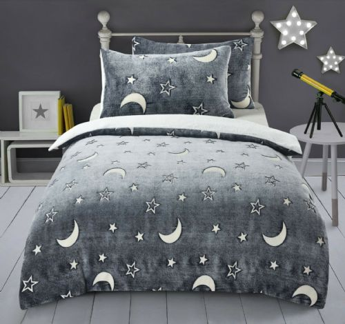 Moon Stars Thermal Teddy Fleece Bedding Glows in Dark Cosy Reversible Duvet Cover Bed Set